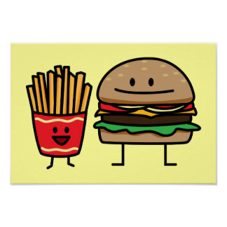 Hamburger and Fries fast food bun junk fried hot Poster