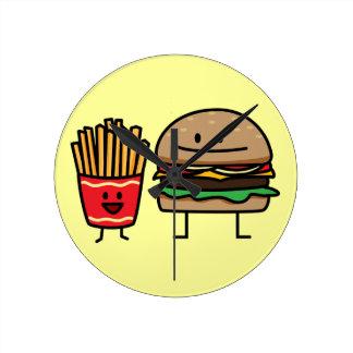 Hamburger and Fries fast food bun junk fried hot Round Clock