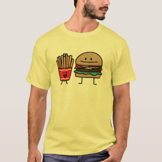 Hamburger and Fries fast food bun junk fried hot T-Shirt
