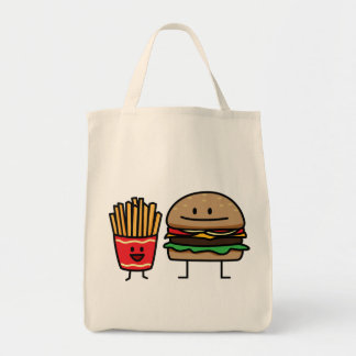 Hamburger and Fries fast food bun junk fried hot Tote Bag