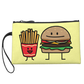 Hamburger and Fries fast food bun junk fried hot Wristlet
