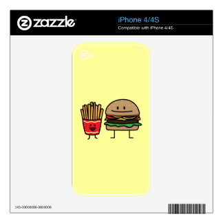 Hamburger and Fries iPhone 4 Decals