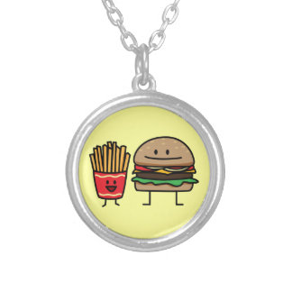 Hamburger and Fries Silver Plated Necklace