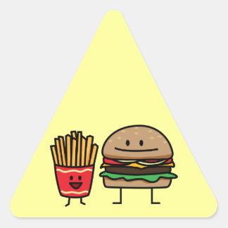 Hamburger and Fries Triangle Sticker