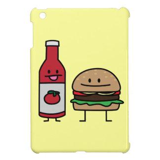 Hamburger and Ketchup fast food buddies bun patty iPad Mini Covers
