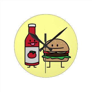 Hamburger and Ketchup fast food buddies bun patty Round Clock
