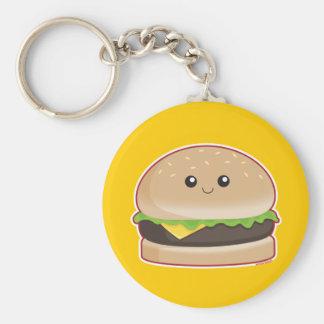 Hamburger Basic Round Button Keychain