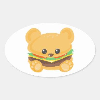 Hamburger Bear Oval Sticker