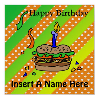 Hamburger Birthday Poster