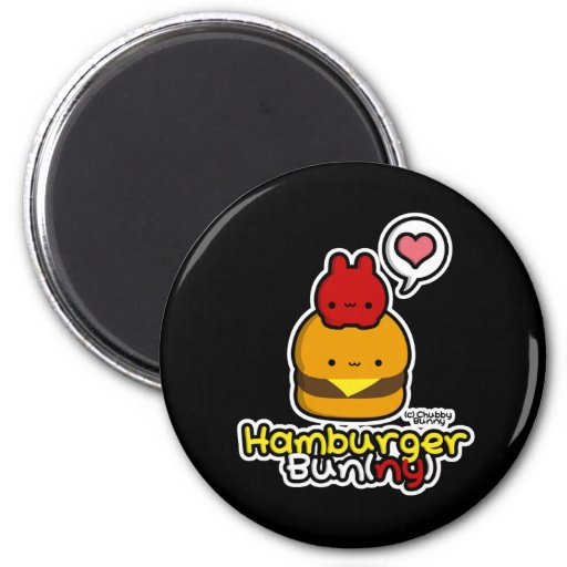 Hamburger Bun(ny) Magnet (Black)