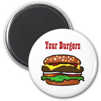 Hamburger Button 2 Inch Round Magnet