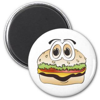 Hamburger Cartoon 2 Inch Round Magnet