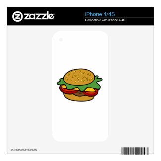 Hamburger Cartoon Drawing Decals For The iPhone 4