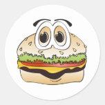 Hamburger Cartoon Round Sticker