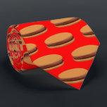 """Hamburger Cartoon Style On Red Background Tie<br><div class=""""desc"""">Hamburger Cartoon Style On Red Background Tie.</div>"""