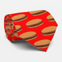 Hamburger Cartoon Style On Red Background Tie