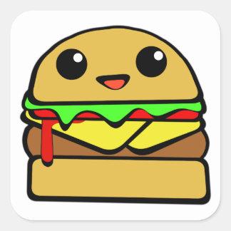 Hamburger Character Square Sticker