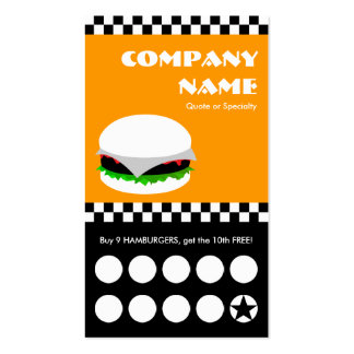 hamburger checkers punchcard Double-Sided standard business cards (Pack of 100)