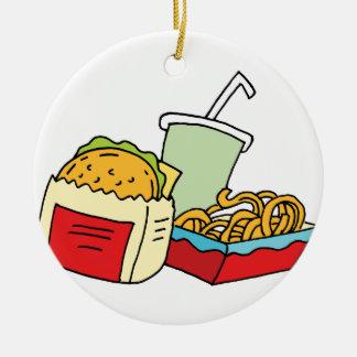 Hamburger curly fries and soda ceramic ornament