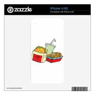 Hamburger curly fries and soda iPhone 4 decal
