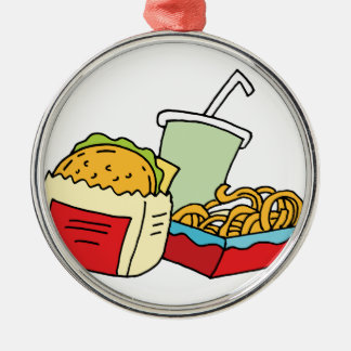 Hamburger curly fries and soda metal ornament