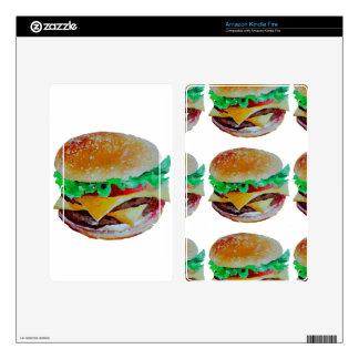 hamburger design, original painting kindle fire skin