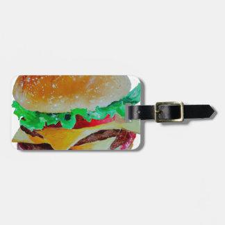 hamburger design, original painting luggage tag