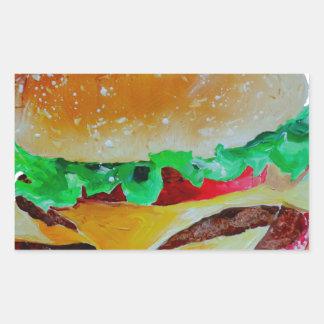 hamburger design, original painting rectangular sticker