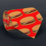 """Hamburger Drawing on Red Background Tie<br><div class=""""desc"""">Hamburger Drawing on Red Background Tie. To change the background color click Customize It!</div>"""