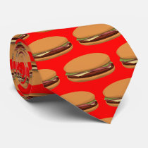 Hamburger Drawing on Red Background Tie