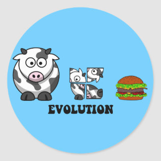 hamburger evolution classic round sticker