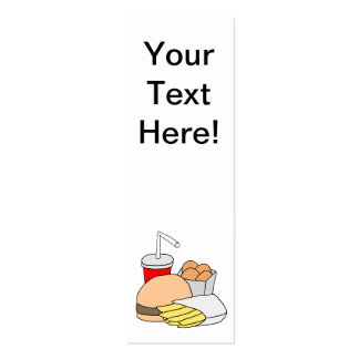 Hamburger, Fries, Chicken Nugget and Soda Bookmark Double-Sided Mini Business Cards (Pack Of 20)