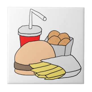 Hamburger, Fries, Chicken Nuggets and Soda Ceramic Tile