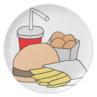 Hamburger, Fries, Chicken Nuggets and Soda Dinner Plate
