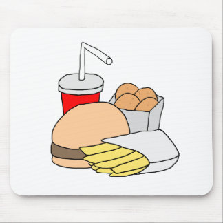 Hamburger, Fries, Chicken Nuggets and Soda Mouse Pad