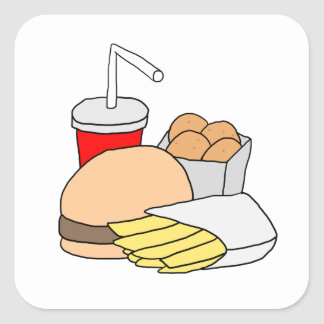 Hamburger, Fries, Chicken Nuggets and Soda Square Sticker