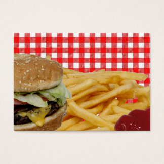 Hamburger, Fries, Ketchup, Red Check Tablecloth Business Card