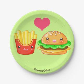 "Hamburger & Fries Paper Plates 7"""
