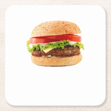 Halloween Themed Hamburger Funny Halloween costume matching couples Square Paper Coaster