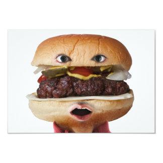 Hamburger Head Man over white 3.5x5 Paper Invitation Card