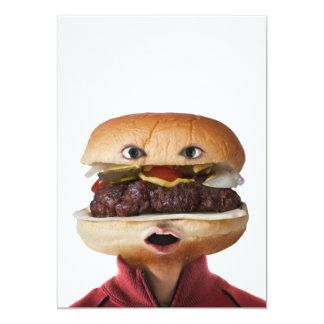 Hamburger Head Man over white 5x7 Paper Invitation Card