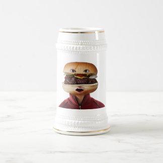 Hamburger Head Man over white Beer Stein