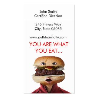 Hamburger Head Man over white Business Card