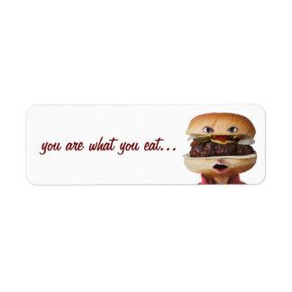 Hamburger Head Man over white Custom Return Address Labels
