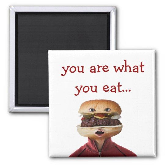 Hamburger Head Man over white Magnet