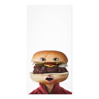 Hamburger Head Man over white Personalized Photo Card