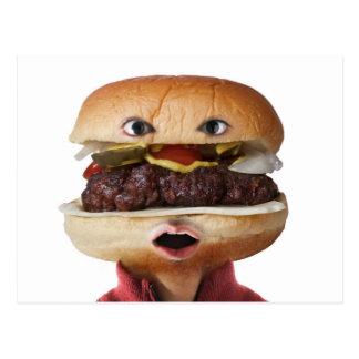 Hamburger Head Man over white Postcard