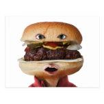 Hamburger Head Man over white Postcards