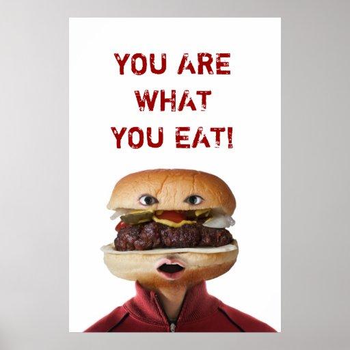 Hamburger Head Man over white Poster