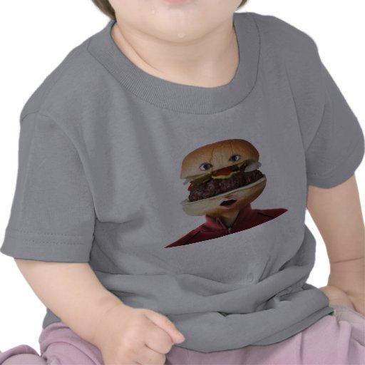 Hamburger Head Man over white T Shirt